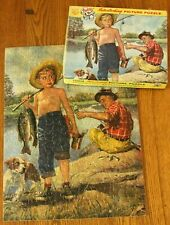 Vtg Tuco Jigsaw Puzzle Interlock Thick Humor Boy Fish Man Dog 5983 for sale not