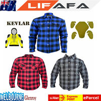 Biker Cotton Flannel Casual Shirts Reinforced Made With DuPont™ KEVLAR® Shirt LF