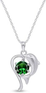 Simulated Emerald Playing Dolphin Heart Pendant Necklace In 14k Gold Over