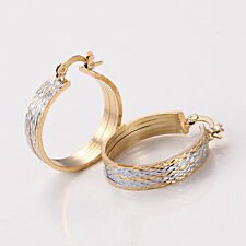 """Pretty New 14K Yellow & White Gold Plated Textured Band 1"""" Round Hoop Earrings"""
