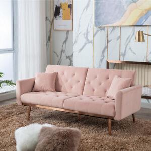 Velvet Sofa Bed Chesterfield Style 3 Seater Rose Gold Sofa Button Design
