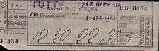 TAGLIANDO  GIOCATA DI LIRE CINQUE / 5  AL LOTTO - IMPERIA 1942  C6-291