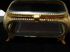 Beautiful Rare European Oval Square Beveled Glass Brass Mounted Lid Jewelry Box