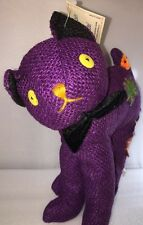 HARD BURLAP PURPLE Halloween Cat Stuffed Plushie Toy by Toy Parade, New
