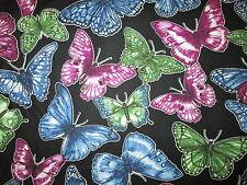 Butterfly Colorful Butterflies Garden Black Cotton Fabric BTHY
