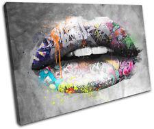 Graffiti Lips Urban Grunge Fashion SINGLE CANVAS WALL ART Picture Print