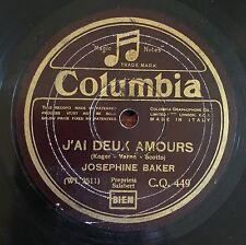 """RARE 78RPM 10"""" COLUMBIA JOSEPHINE BAKER J'AI DEUX AMOURS/VOULEZ VOUS DE LA CANNE"""
