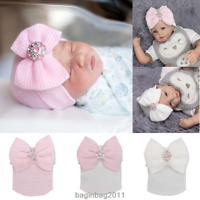 Baby Newborn Soft Striped Hat With Bow Girl Infant Child Beanie Cap Diomand HOT