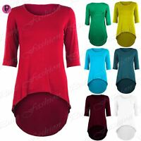Womens 3/4 Sleeves Stretchy Mini Dress Ladies Dipped Hem High Low Bodycon Top
