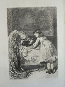 Adolphe LALAUZE (1838-1905) EAU FORTE ORIGINALE BERCEAU ENFANT BEBE FAMILLE 1880