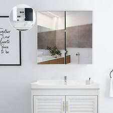 Wooden Bathroom Cabinet Mirror Double Full Door Cupboard Storage Wall Mounted UK