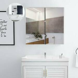 White Bathroom Cabinet & Cupboard Mirrored Double Full Door Storage Wall Mounted