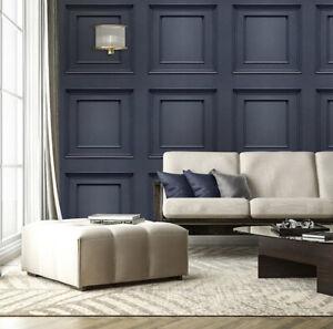 3D Panel Effect Wallpaper Heavy Weight Italian Amara Wood Textured Vinyl Blue
