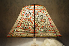 Mandala Large Floor Lampshade | Leather Floral Lamp Shade Painted in Amber Red