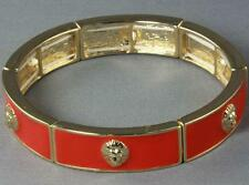 LION HEAD PENDANT ORANGE & GOLD  BANGLE BRACELET     D340