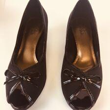 vintage 80s Life Strid Black fabric with satiny bow heel pumps Peep Toe 7 M (h)