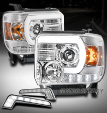 FIT 14-15 GMC SIERRA 1500 2500 3500 HD LED CHROME PROJECTOR HEADLIGHT+DRL SIGNAL