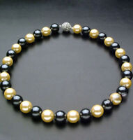 """Genuine 10mm Black & Yellow South Sea Shell Pearl Round Beads Necklace 18"""" JN952"""