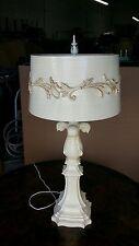 HOLLYWOOD REGENCY 70'S  PLASTER COMPOSITION  FLEUR DE LIS  TABLE LAMP P