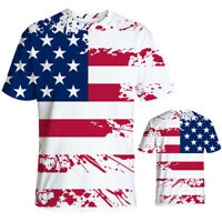 Mens Summer Casual American Flag Print Independence Day Loose O-Neck T-Shirt Top