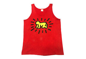 Vintage 80s Keith Haring Tank Top T Shirt Radiant Baby Large Double Side