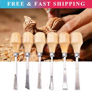6Pcs Wood Carving Hand Chisel Gouges Set Kit Woodworking Tool For Beginner DIY