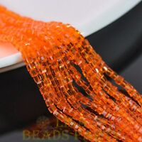 100pcs 3mm Cube Square Faceted Crystal Glass Loose Spacer Beads Orange Red