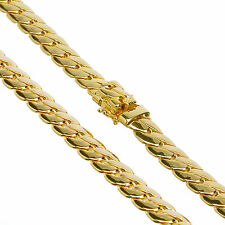 """Solid Heavy 14K Gold Plated Cuban Link Chain Box Clasp Safety Lock 12 mm / 26"""""""
