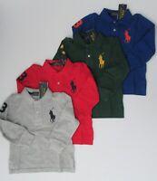 NWT Ralph Lauren Boys Long Sleeved Big Pony Solid Mesh Polo Shirt Sz 5 6 7 NEW