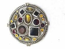 Sharp Silver Tone Multi Color Multi Shape Lucite Stones Vintage Pin