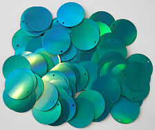 100 x 25mm large round turquoise prismatic sequins