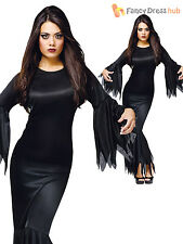 Ladies Morticia Vampire Fancy Dress Costume Witch Halloween Womens Size 10 12 14