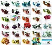 100 MINI ROSE BUD MULBERRY PAPER FLOWER CRAFT ARTIFICIAL EMBELLISHMENT SCRAPBOOK
