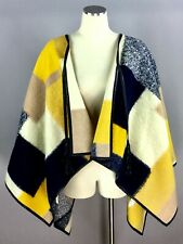 BCBG Maxazria Colorblock Yellow Black Wool Leather Trim Poncho Sweater One Size