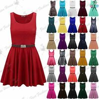 Ladies Belted Sleeveless Flared Franki Mini Womens Short Party Skater Dress Top
