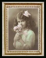 Vintage Victorian Girl Pink Roses Miniature Dollhouse Picture