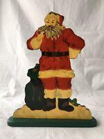 "Vintage Wood Santa Clause Painted Christmas Decoration 14"" Tall!"