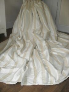 """LARGE VINTAGE CURTAINS HEAVY MOIRE SILK STYLE FABRIC CREAM & GOLD 52"""" X 70"""" in"""