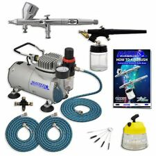 Master Pro Multi Purpose Two Airbrush Set & Compressor Includes Air, Model G44