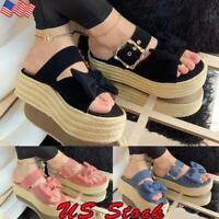 US Womens Ladies Flat Wedge Espadrilles Bow Sandals Platform Summer Beach Shoes