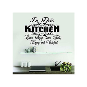 In This Kitchen Come Hungry Home Kitchen Decor Wall Decal Art Sticker Black