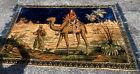 """Vtg Camel Palm Trees Arabian Dessert Tapestry 40""""x 72""""  Wall Hanging Rug Velvet"""