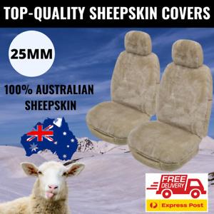 Sheepskin Seat Covers 25MM Mocha Genuine Australian Sheepskin Airbag Safe (Pair)