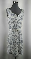 Sz T4 Jus d' Orange Floral Blue/White Sleeveless Belted Lined Knee Length Dress