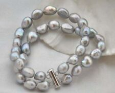 "2 Strands 8-9mm Baroque gray freshwater pearl bracelet 7.5"" Y3413"
