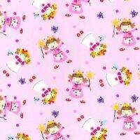 Pink White Spots Polka Dots Polycotton Fabric 44 inch 110cm Half Metres
