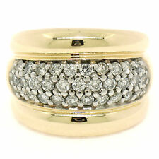 14k Two Tone Gold 1.00ctw Pave Set Round Diamond Wide Puffed Band Cocktail Ring