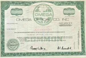 Omega Optical Co. > Dallas Texas specimen stock certificate