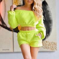Women's Off Shoulder Plush Long-sleeved Elastic Waist Crop Top Shorts 2Pcs Suit