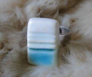 Designer Weißgold Maria De Carvalho Schmuck Ring Keramik Porzellan Limoge N 23
